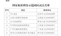文旅部公布国家旅游科技示范园区试点名单